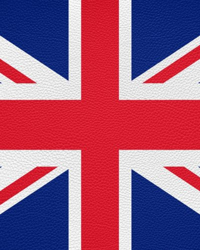 british flag of United Kingdom UK or Great Britain printed on leather texture background